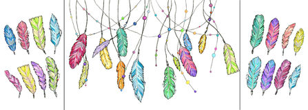 Watercolor feathers and set of hand drawn sketch feathers. Stock Images