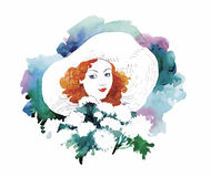 Watercolor female portrait illustration with flowers vector Stock Photography