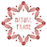 Watercolor fern leaves and garnet vector frame. With handwritten text Stock Photo
