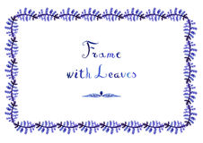 Watercolor fern leaves vector frame with handwritten text. (horizontal in blue-purple colors Royalty Free Stock Image
