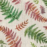 Watercolor fern seamless pattern. 2d hand drawn watercolor seamless background. Colorful fern leaves drawn on rustic piece of coarse cloth. Linen, flax fabric Stock Images