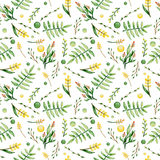 Watercolor Ferns And Yellow Flowers Seamless Pattern. Watercolor Green Ferns And Yellow Flowers Seamless Pattern Stock Images