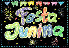 Watercolor Festa Junina Background Holiday.  Greeting Card. Royalty Free Stock Photography
