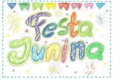 Watercolor Festa Junina Background Holiday.  Greeting Card. Watercolor Festa Junina Background Holiday. Hand Drawn Greeting Card.Hand Written Text, Lanterns Royalty Free Stock Image