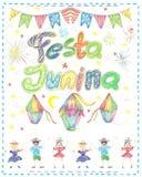 Watercolor Festa Junina Background Holiday.  Greeting Card. Watercolor Festa Junina Background Holiday. Hand Drawn Greeting Card.Hand Written Text, Lanterns Royalty Free Stock Photography