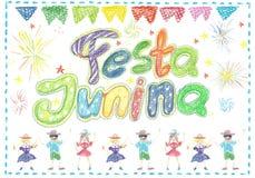 Watercolor Festa Junina Background Holiday.  Greeting Card. Watercolor Festa Junina Background Holiday. Hand Drawn Greeting Card.Hand Written Text, Lanterns Stock Photography