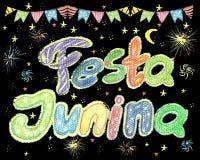 Watercolor Festa Junina Background Holiday.  Greeting Card. Watercolor Festa Junina Background Holiday. Hand Drawn Greeting Card.Hand Written Text, Lanterns Royalty Free Stock Photo