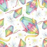 Watercolor Festa Junina Background Holiday. Seamless Pattern. Watercolor Festa Junina Background Holiday.  Hand Drawn Seamless Pattern. Colorful Lanterns, Stars Stock Photography