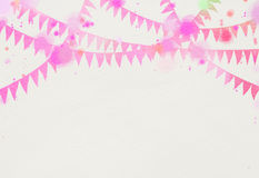 Watercolor festival flags background. Digital art painting.  Royalty Free Stock Photos