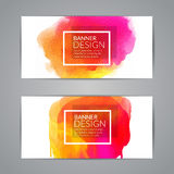 Watercolor festive Banner Cards for Wedding, Valentines day or Birthday Invitations.. Flyers, Banners, Placards and Posters Design set Royalty Free Stock Photos