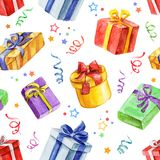 Watercolor festive seamless pattern. Festival and celebration design. Gifts and serpentine. Package design Royalty Free Stock Images