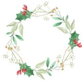 Watercolor Festive Winter Christmas Wreath Holly Berry Garland Stock Image