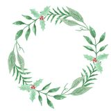 Watercolor Festive Winter Christmas Wreath Holly Berry Garland Royalty Free Stock Photography