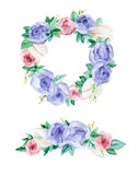 Watercolor festoon flowers. Watercolor painting. Elements floral garlands on a white background Stock Photo