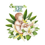 Watercolor fetus with floral decorations. Hand painted design isolated on white background Royalty Free Stock Photo