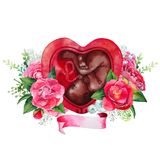 Watercolor fetus inside the womb. Watercolor fetus inside the heart shaped womb isolated on white background. African American baby. Floral design Stock Photography