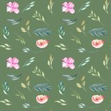 Watercolor field carnations and green branches seamless pattern. Hand drawn isolated on a dark green background Stock Images