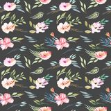 Watercolor field carnations and green branches seamless pattern. Hand drawn on a dark background Stock Photo