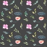 Watercolor field carnations and green branches seamless pattern. Hand drawn isolated on a dark background Stock Photos