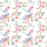 Watercolor field carnations, roses and green branches bouquets seamless pattern. Hand drawn on a white background Stock Image