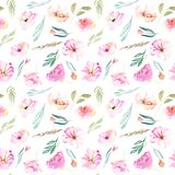 Watercolor field carnations, roses and small field green branches seamless pattern. Hand drawn isolated on a white background Royalty Free Stock Images
