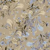 Bouquet field flowers of watercolor. Monochrome floral seamless pattern on a beige background. Watercolor field flowers bouquet beige background handiwork Royalty Free Stock Image