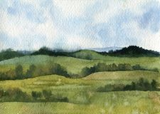 Watercolor field landscape. With blie sky,green grass and trees Stock Image