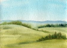 Watercolor field landscape. With blie sky,green grass and trees Stock Images