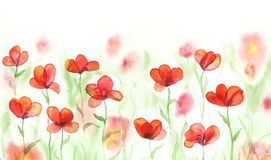 Watercolor field with red poppies. Banner with flowers. Hand painted background Stock Image