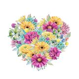 Watercolor fiesta flowers heart. Spring or summer decoration floral bohemian design Royalty Free Stock Photo