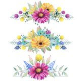 Watercolor fiesta flowers. Compositions. Spring or summer decoration floral bohemian design Royalty Free Stock Photography