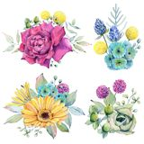 Watercolor fiesta flowers. Compositions. Spring or summer decoration floral bohemian design Stock Photos