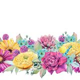 Watercolor fiesta flowers. Spring or summer decoration floral bohemian design Stock Images