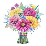 Watercolor fiesta wedding bouquet. Spring or summer decoration floral bohemian design Stock Photo