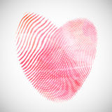 Watercolor fingerprint hearts. Valentine's Day background with watercolor heart shape of fingerprints Stock Image