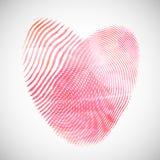 Watercolor fingerprint hearts Stock Image
