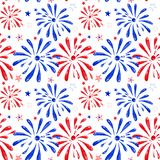 Watercolor firework saluting festival, hand painted festive seamless pattern for holiday events, memorial day, New Year, 4th of vector illustration