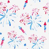 Watercolor fireworks festival pattern for holidays, 4th of July, United Stated independence day. Design for print, card. Banner stock illustration