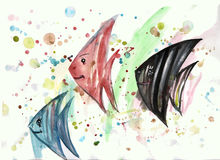 Watercolor fish on the background of blots. Watercolor fish on abstract background with blots Royalty Free Stock Photo