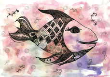 Watercolor fish on the background of blots. Watercolor fish on abstract background with blots Royalty Free Stock Photography
