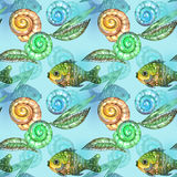 Watercolor fish. On blue water Royalty Free Stock Photo