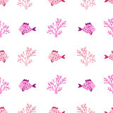 Watercolor fish and corals pattern. Seamless vector marine background in pink and purple Royalty Free Stock Image