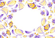 Watercolor fish frame. Ultra violet and gold colors. For. Children design, print or background Stock Photography