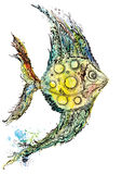 Watercolor fish illustration. Creative ink and aquarelle colorful painting with moon fish Royalty Free Stock Images