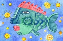 Watercolor fish illustration Royalty Free Stock Photography