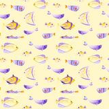 Watercolor different fish pattern. Ultra violet and gold colors. For children design, print or background. Watercolor fish pattern. Ultra violet and gold colors Royalty Free Stock Photos