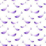 Watercolor fish pattern. Ultra violet and gold colors. For children design, print or background.  Royalty Free Stock Photo