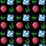 Watercolor fish seamless pattern. Hand drawn, watercolor fishes,  seamless pattern Stock Photos