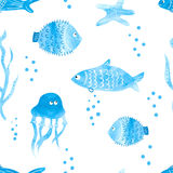 Watercolor fish seamless pattern Royalty Free Stock Photography