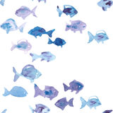 Watercolor fish seamless vector pattern Stock Image